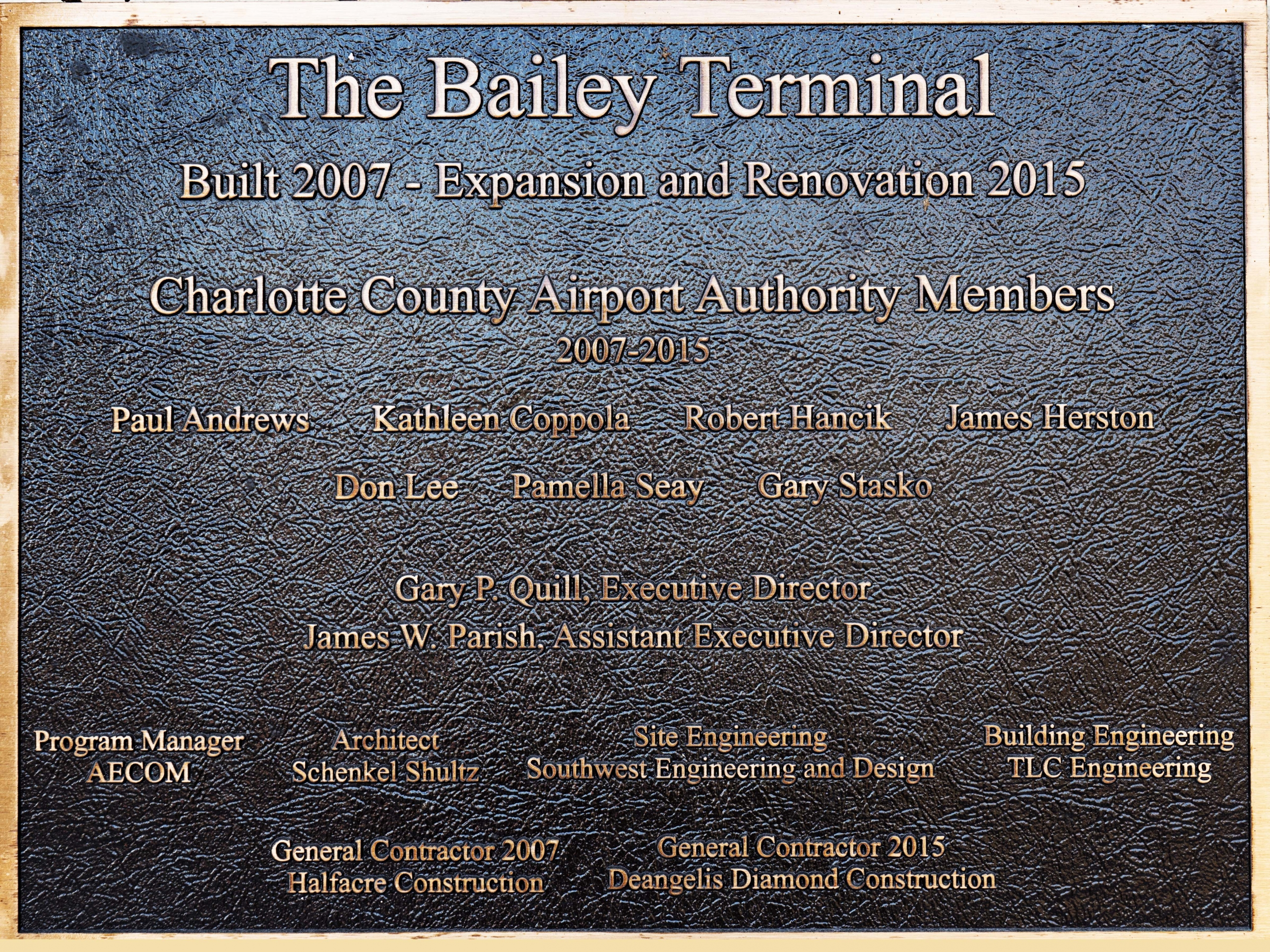 The Bailey Terminal, named after the Bailey brothers who were all from Punta Gorda and served in the military during WWII and the Korean wars, was expanded in 2016 to accommodate the growing number of passengers traveling in and out of the airport.