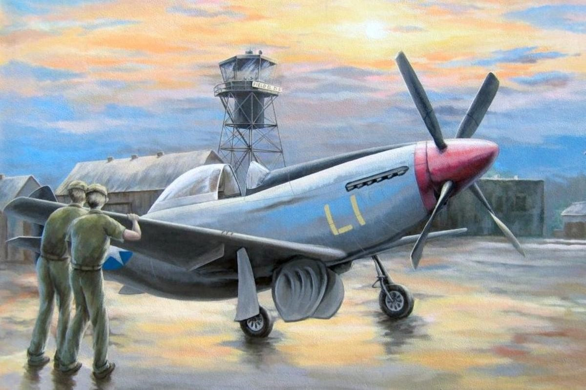 """One of the panels of """"Historic Punta Gorda Airfield,"""" painted by Edwin Yip, illustrates its history as a training field for the P-51 fighter that proved so vital in winning World War II. PHOTO PROVIDED BY JOHN MAGNIN . After the war, the field was turned into a general aviation facility that has hosted many unusual aircraft during the annual Florida International Air Show. Both murals were destroyed by Hurricane Charley, and the society has been unable to reach an agreement with the Airport Authority to replace them."""