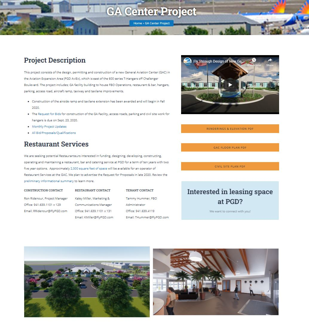 New GA Center Project Page